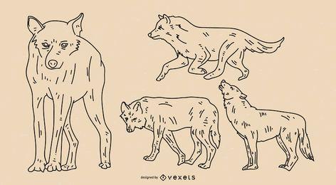Conjunto de trazo de lobo