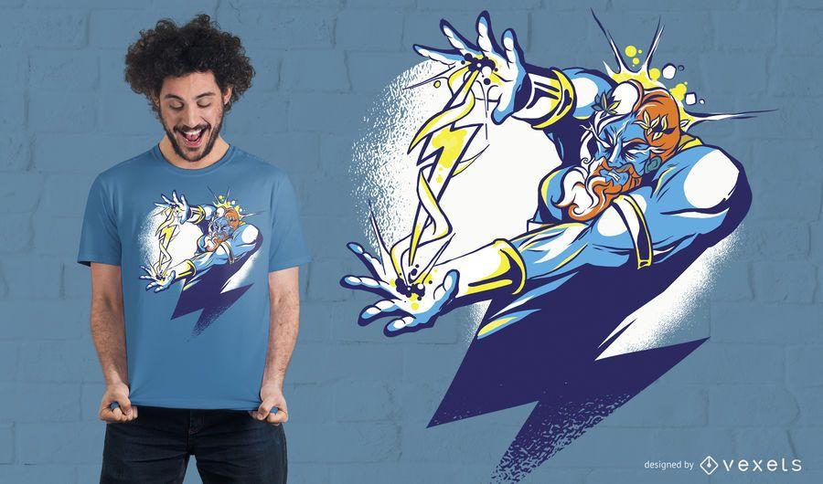 Diseño de camiseta de dibujos animados de Zeus