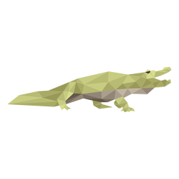 Alligator side view low poly