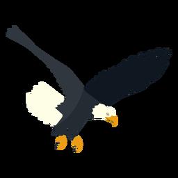Águila calva buceo plana.
