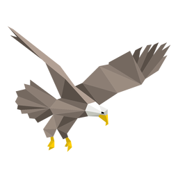 Bald eagle diving lowpoly