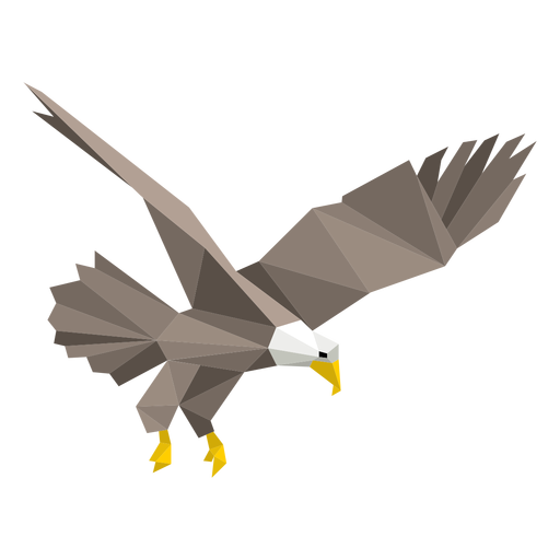 Bald eagle diving lowpoly Transparent PNG