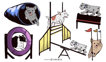 Conjunto de design de equipamento de agilidade de cão