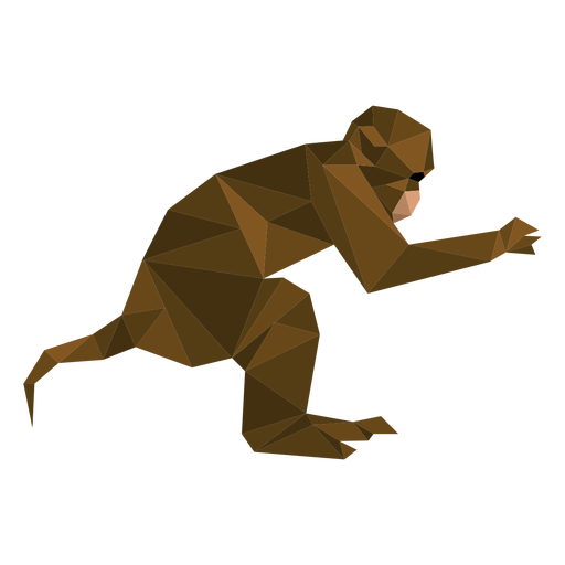 Capuchin monkey jumping lowpoly Transparent PNG