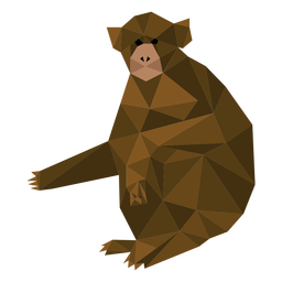 Macaco-prego sentado lowpoly
