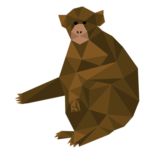 Capuchin monkey sitting lowpoly Transparent PNG