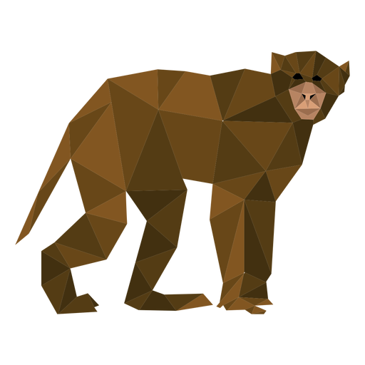 Capuchin monkey walking lowpoly Transparent PNG