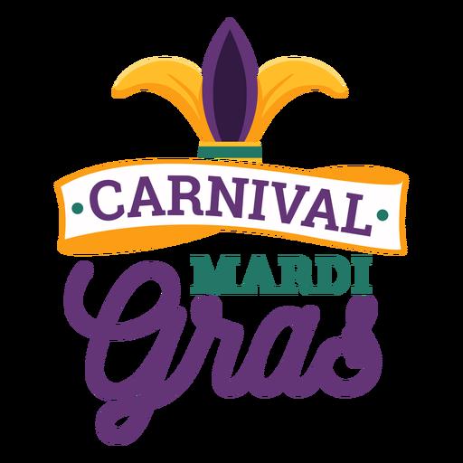Carnival mardi gras jester hat lettering Transparent PNG