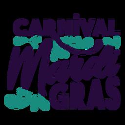 Carnival mardi gras lettering badge
