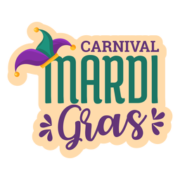 Carnival mardi gras lettering sticker