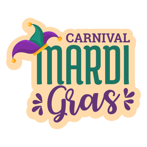 Carnival mardi gras lettering sticker Transparent PNG