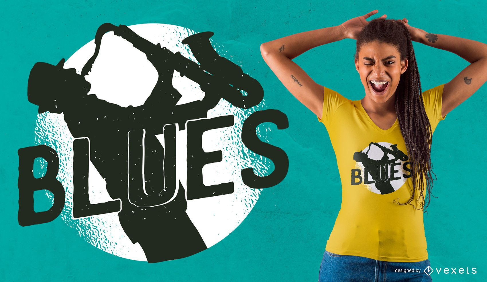Diseño de camiseta de música blues