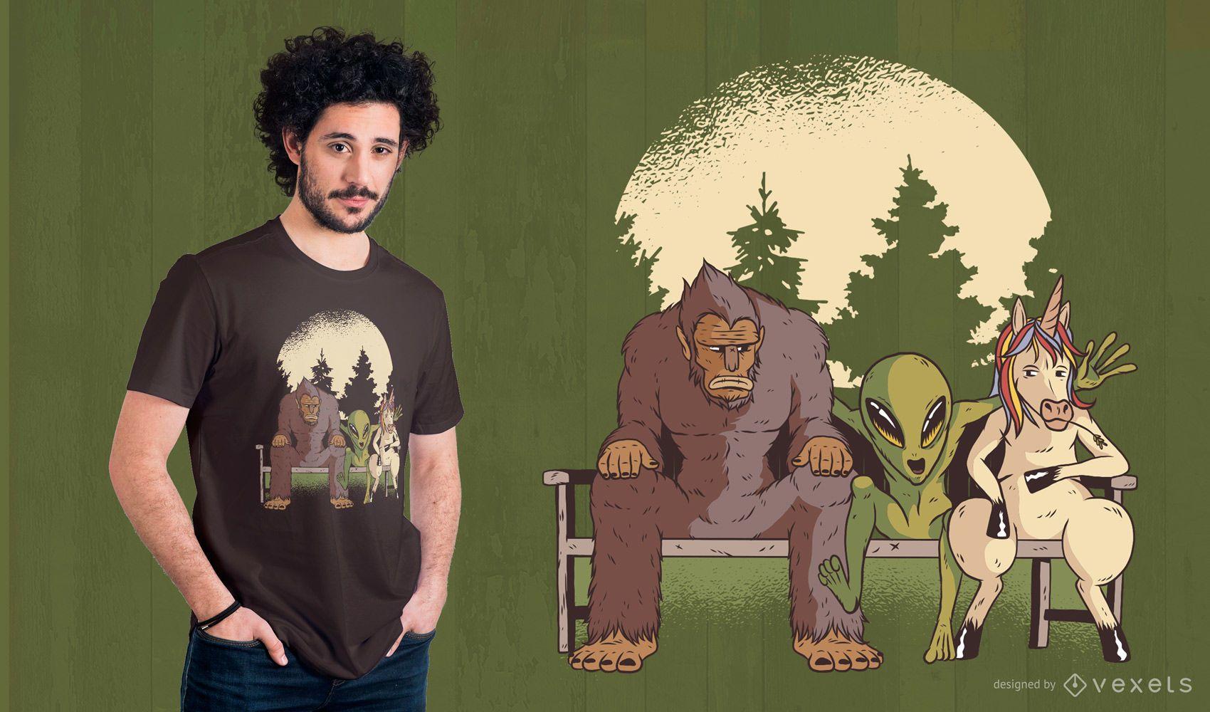 Diseño de camiseta de criaturas mitológicas