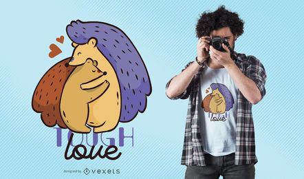 Tough Hedgehog Love T-Shirt Design