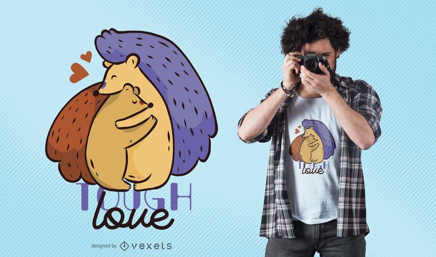 Tough Hedgehog Love T-Shirt Design