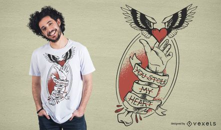 Diseño de camiseta Stole My Heart