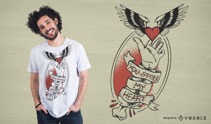 Roubou meu design do t-shirt do coração