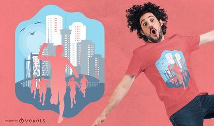 Diseño de camiseta de corredores de maratón