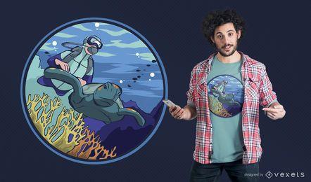 Projeto do t-shirt do mergulhador do mergulhador