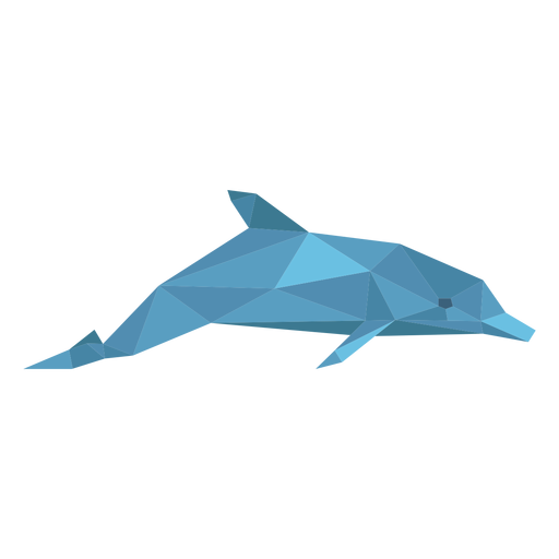 Dolphin side view lowpoly Transparent PNG
