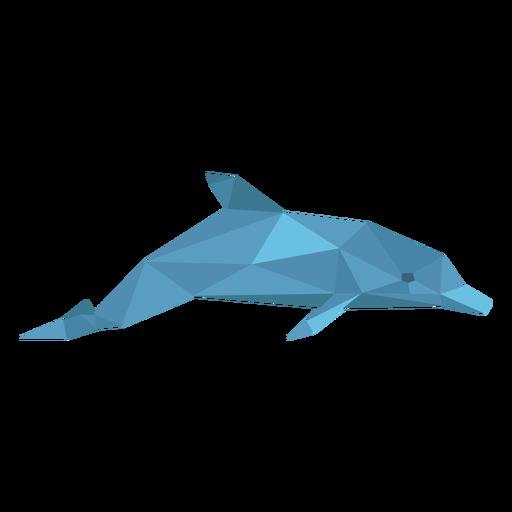 Vista lateral del delfín lowpoly Transparent PNG