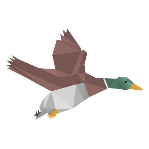 Duck flying lowpoly Transparent PNG