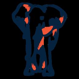Vista frontal del elefante duotono