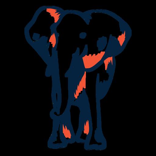 Vista frontal del elefante duotono Transparent PNG