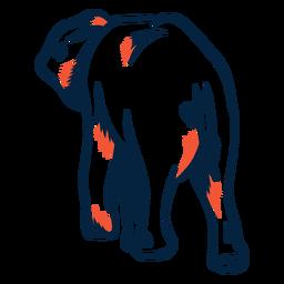 Vista trasera del elefante duotono