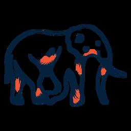 Vista lateral de elefante duotono