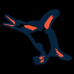 Pingüino duotono gritando