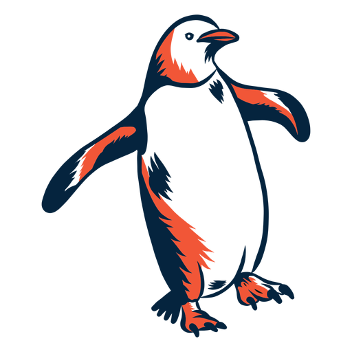Duotone penguin walking Transparent PNG