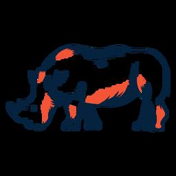 Vista lateral del rinoceronte duotono