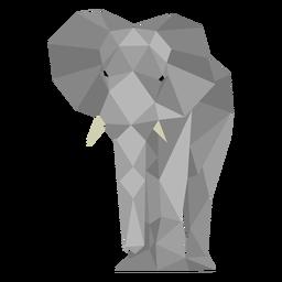 Vista frontal del elefante lowpoly