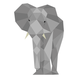 Vista frontal do elefante lowpoly