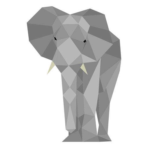 Elephant front view lowpoly