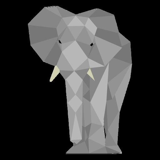 Vista frontal del elefante lowpoly Transparent PNG