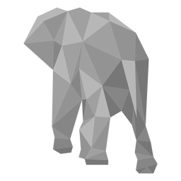 Opinião traseira do elefante lowpoly