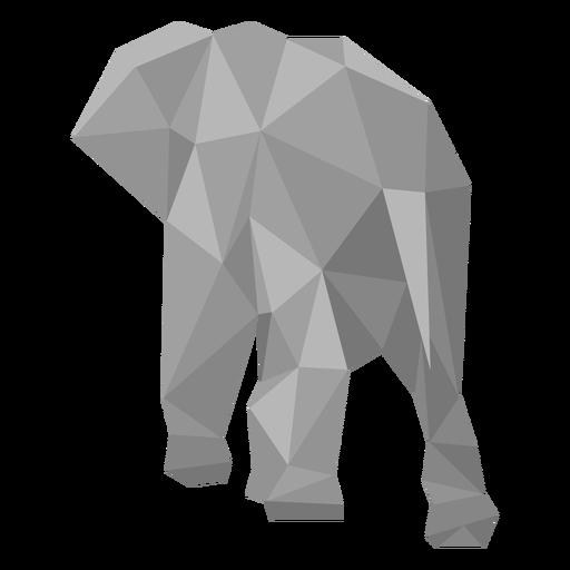 Elefante vista trasera lowpoly Transparent PNG