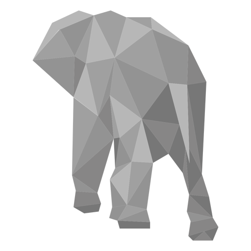 Elephant rear view lowpoly Transparent PNG