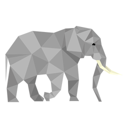 Elephant side view lowpoly