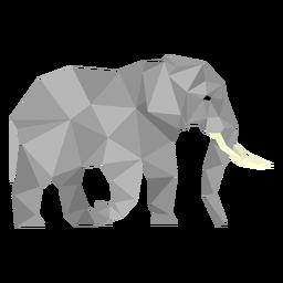 Vista lateral de elefante lowpoly