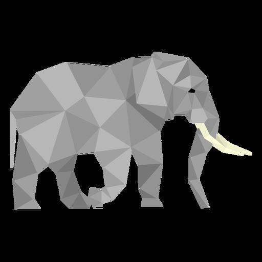 Vista lateral de elefante lowpoly Transparent PNG