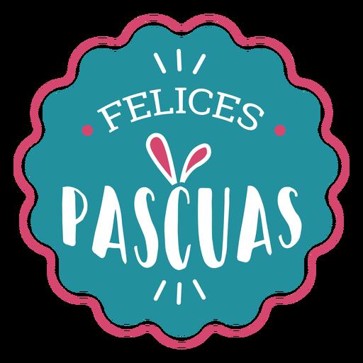 Felices pascuas rabbit ears lettering Transparent PNG