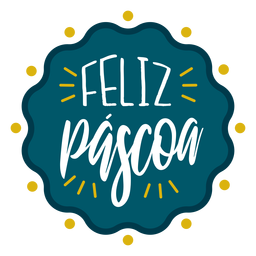 Feliz pascoa wavy badge lettering