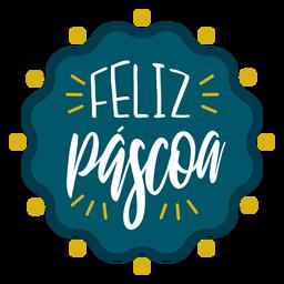 Feliz Pascoa welliger Abzeichen Schriftzug