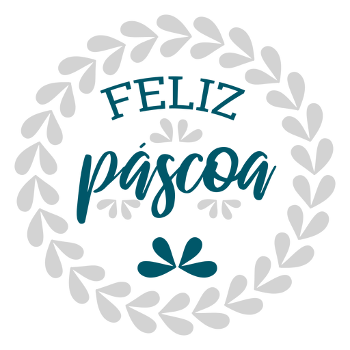 Feliz pascoa wreath lettering Transparent PNG