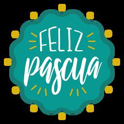 Letras de insignia ondulada de feliz pascua