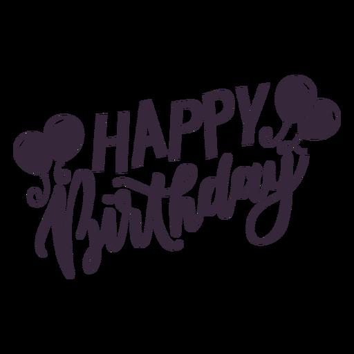 Happy birthday balloons lettering