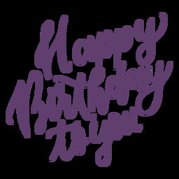 Feliz aniversário para você lettering